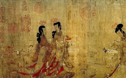 An undated painting of a scene from The Painted Wall, one of the short stories in Pu Songling's 1766 book Strange Tales From a Chinese Studio.