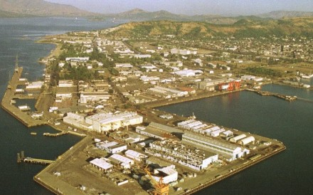 An aerial view of the sprawling port facilities at Subic Bay. Photo: AFP