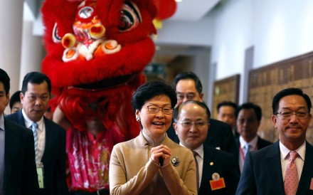 Kenneth Lau (right), chairman of the Heung Yee Kuk, and Hong Kong Chief Executive Carrie Lam, at the rural organisation's spring reception, in Sha Tin on February 11. Photo: Nora Tam