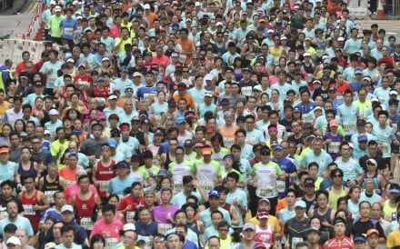 Thousands of runners take part in the Hong Kong Marathon, but all of them aged over 45 compete against each other. Photo: Dickson Lee