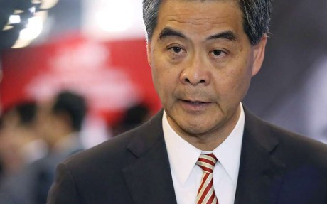 Leung Chun-ying refused to say if he would run for re-election. Photo: Nora Tam