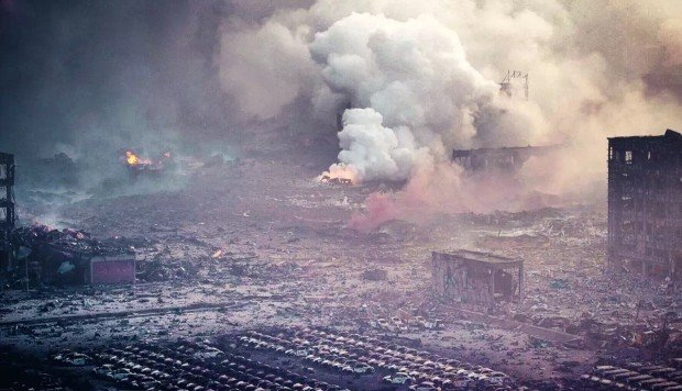 'Is this a nuclear bomb?': drone captures apocalyptic scenes in Tianjin, China, after industrial explosions