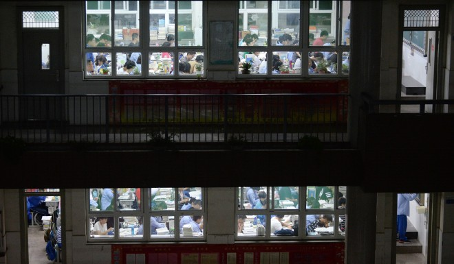 Students study for the punishing gaokao college entrance exam.