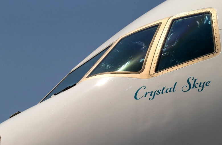 Luxury travel firm crystal cruises takes delivery of its first vip jetliner a boeing 777