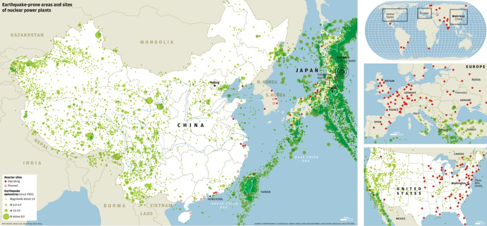 earthquake prone areas and sites of nuclear power plants south