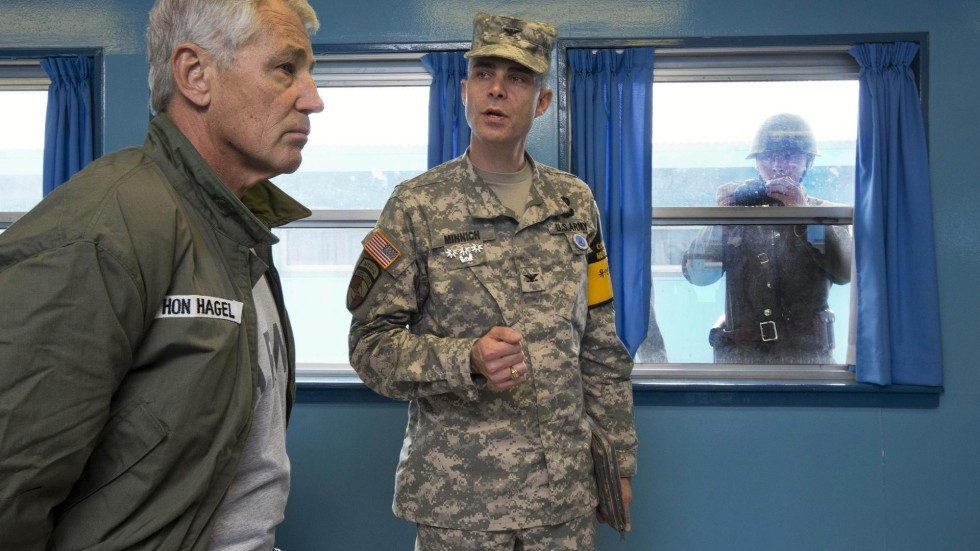 us defence chief chuck hagel tours korean dmz watched by the north