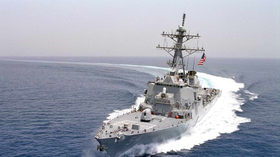 Image result for US destroyer sails near Chinese island amid rising trade war fears