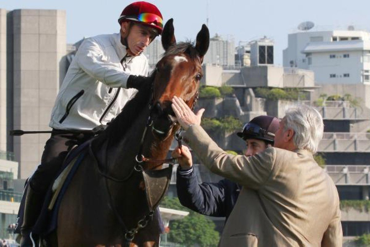 Trainer Francois Doumen pats Siyouma after his filly did a smashing 1,200m turf gallop with Gerald Mosse yesterday.