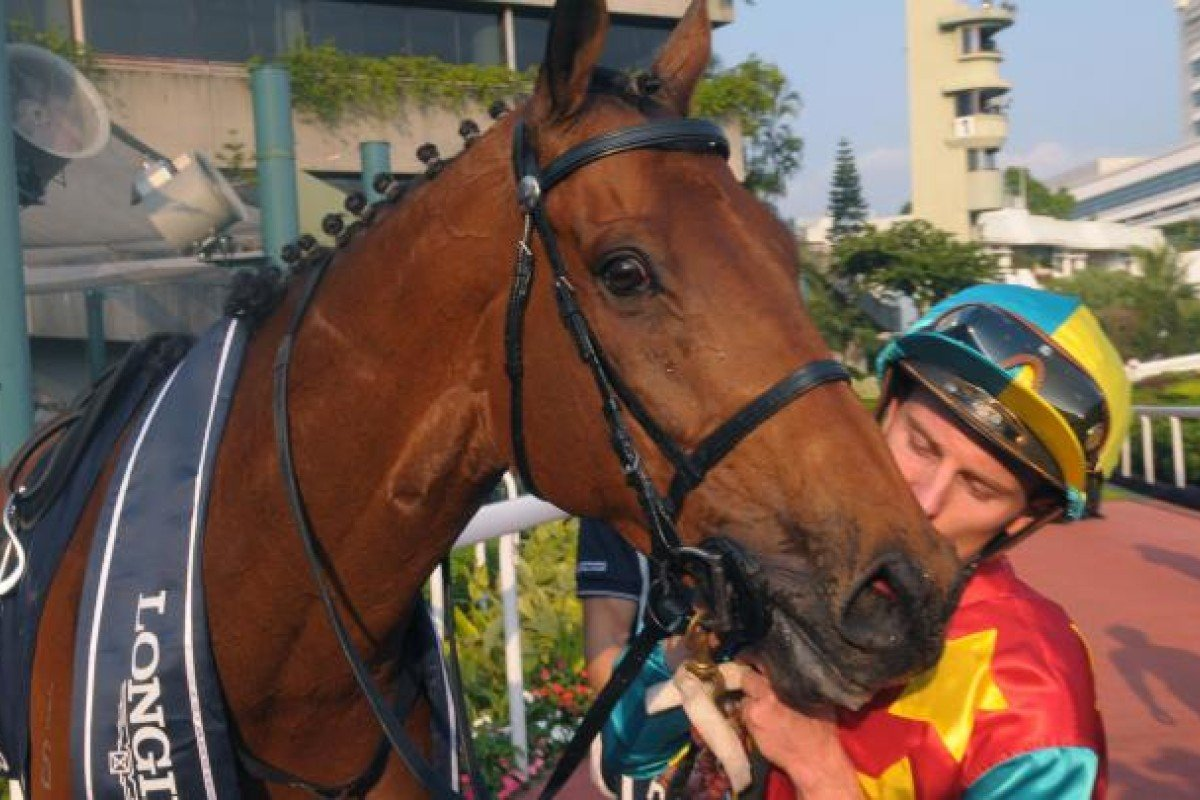 Zac Purton gives Ambitious Dragon a kiss after the Hong Kong star shrugged off injury to win the Mile in superb style. Photo: Kenneth Chan