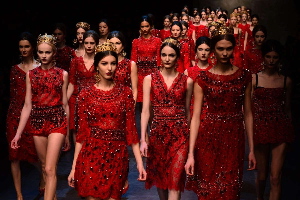 DOLCE & GABBANA: Domenico Dolce and Stefano Gabbana were drawn to the rich colouring and patterns of the Cathedral of Monreale in Sicily for their latest outing. Luxurious gilded Byzantine mosaic patterns and religious figures graced A-line dresses and tunics all beautifully crafted and worn with little princess crowns. But there was still plenty of signature hour-glass tailoring in tweeds for lovers of the ultra-feminine. Photos: AFP; Reuters; Xinhua