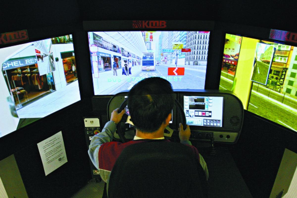 The driving simulator studio at KMB's Sha Tin depot.