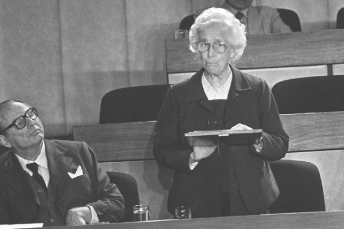 Brook Bernacchi (left) and Tu attend an Urban Council meeting in 1984.