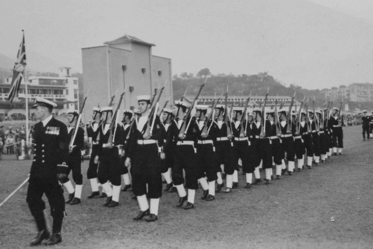 Raymond Jones leads the Royal Naval Volunteer Reserve in a post-war parade in Hong Kong. Pictures: Rae Shaw, Red Door News Hong Kong