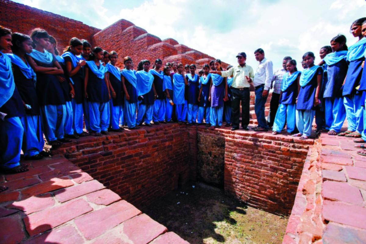 The ruins of the original Nalanda University, including a dorm for instructors (above).