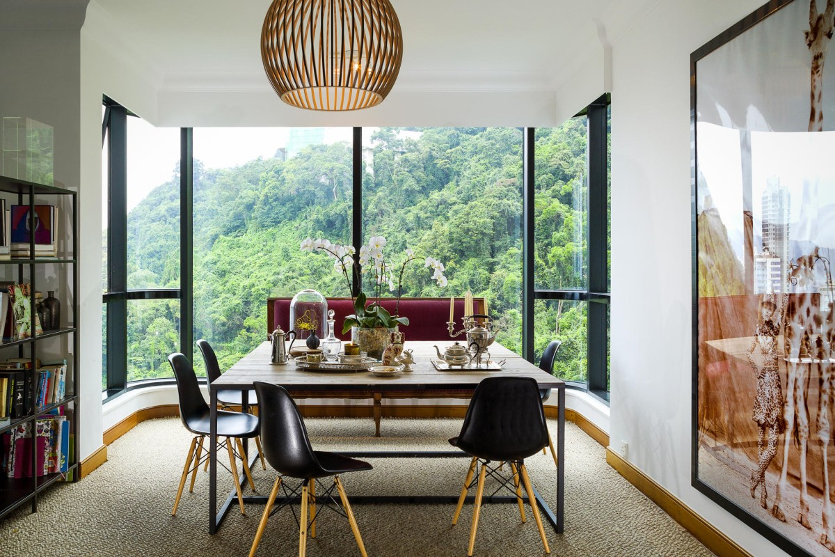Dining area: Dale's silver-plated items (HK$750 to HK$3,000) are on two rectangular tables (about HK$3,000 each) from G.O.D (various locations; www.god.com.hk), which are placed side by side to form a square dining table large enough to accommodate the family of seven. The Herman Miller Eames DSW chairs cost HK$4,800 each at Aluminium (various locations; www.aluminium-furniture.com). Dale found the banquette-style seat at a junk shop in Britain years ago and had it reupholstered in Pierre Frey herringbone linen.