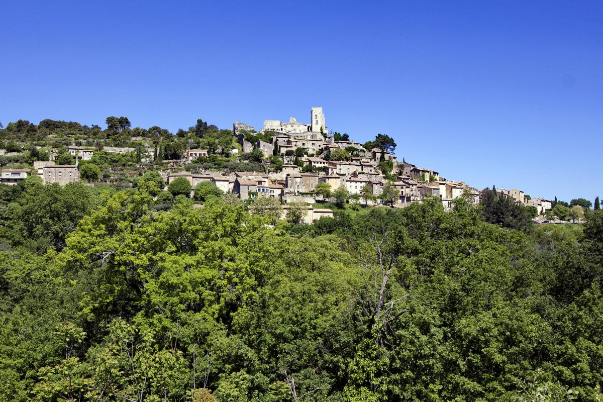 Chateau de Lacoste, former home to the Marquis de Sade, looms over the village of Lacoste.
