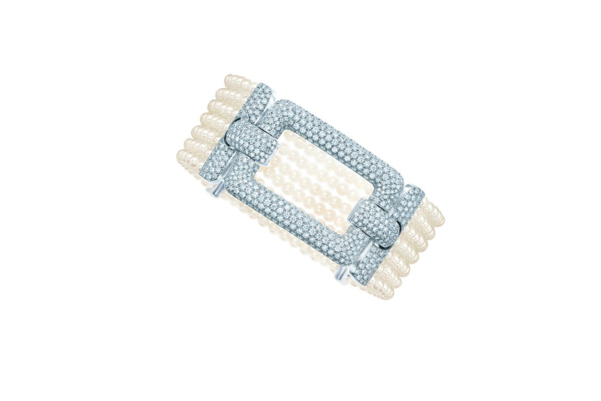Diamond and pearl cuff from Tiffany's.