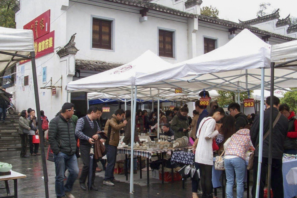 Pottery stalls in the town.