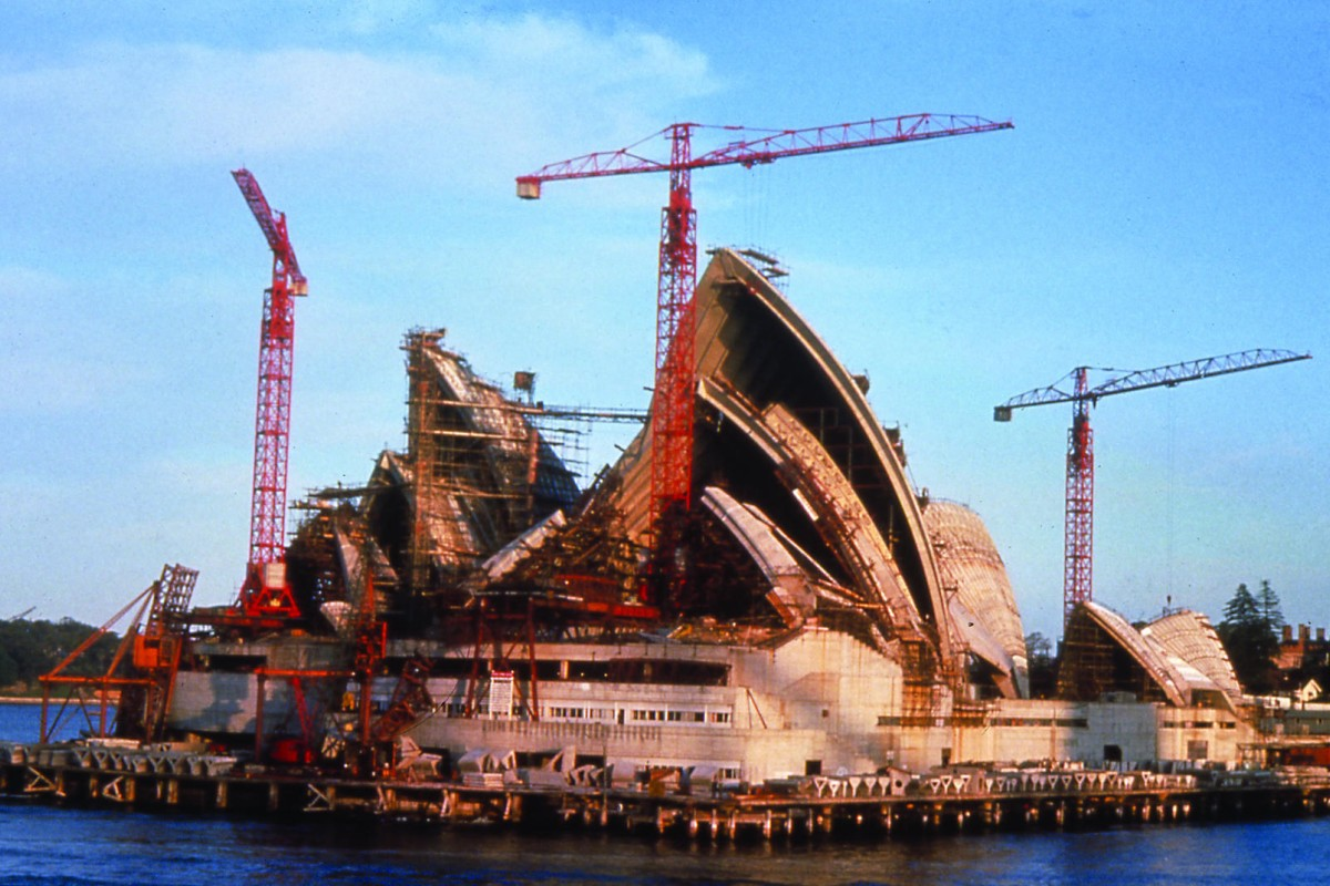 The opera house under construction in 1966.