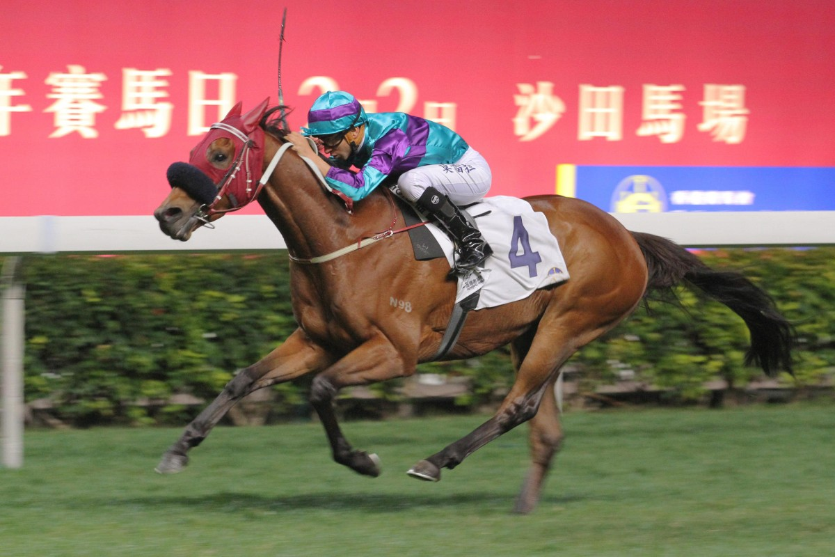 Brazilian jockey Joao Moreira is in complete control aboard Same World to snatch the January Cup at Happy Valley. Photos: Kenneth Chan