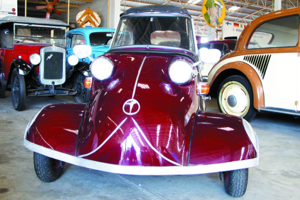 A Messerschmitt KR200, the first car in the collection and the museum's logo.