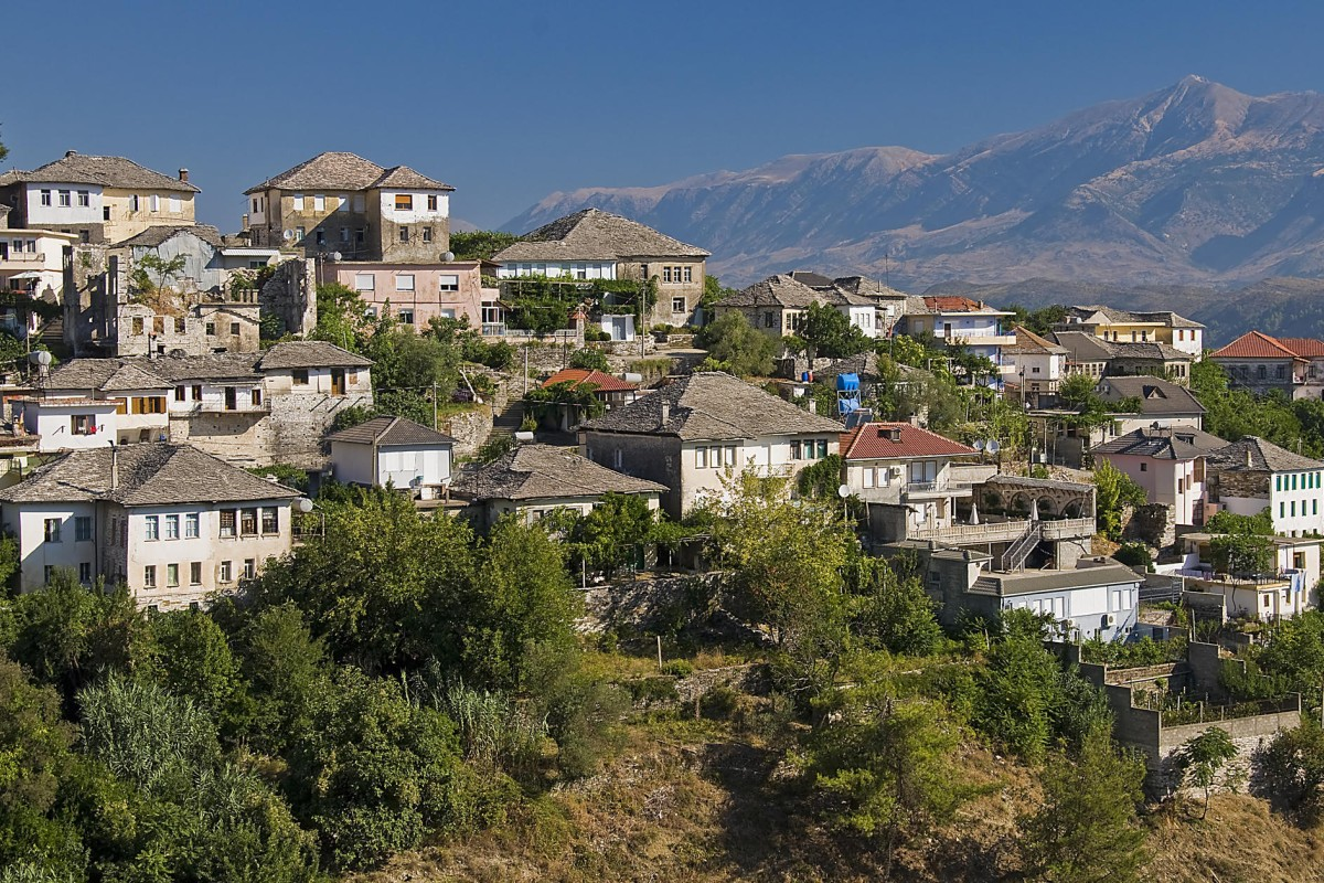 Houses in the Drino valley, in Gjirokaster, Albania.