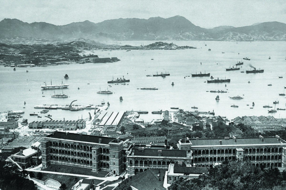 Naval yards and the British Military Hospital on Bowen Road look out over Victoria Harbour, in 1907, the year before the SMS Emden was launched.
