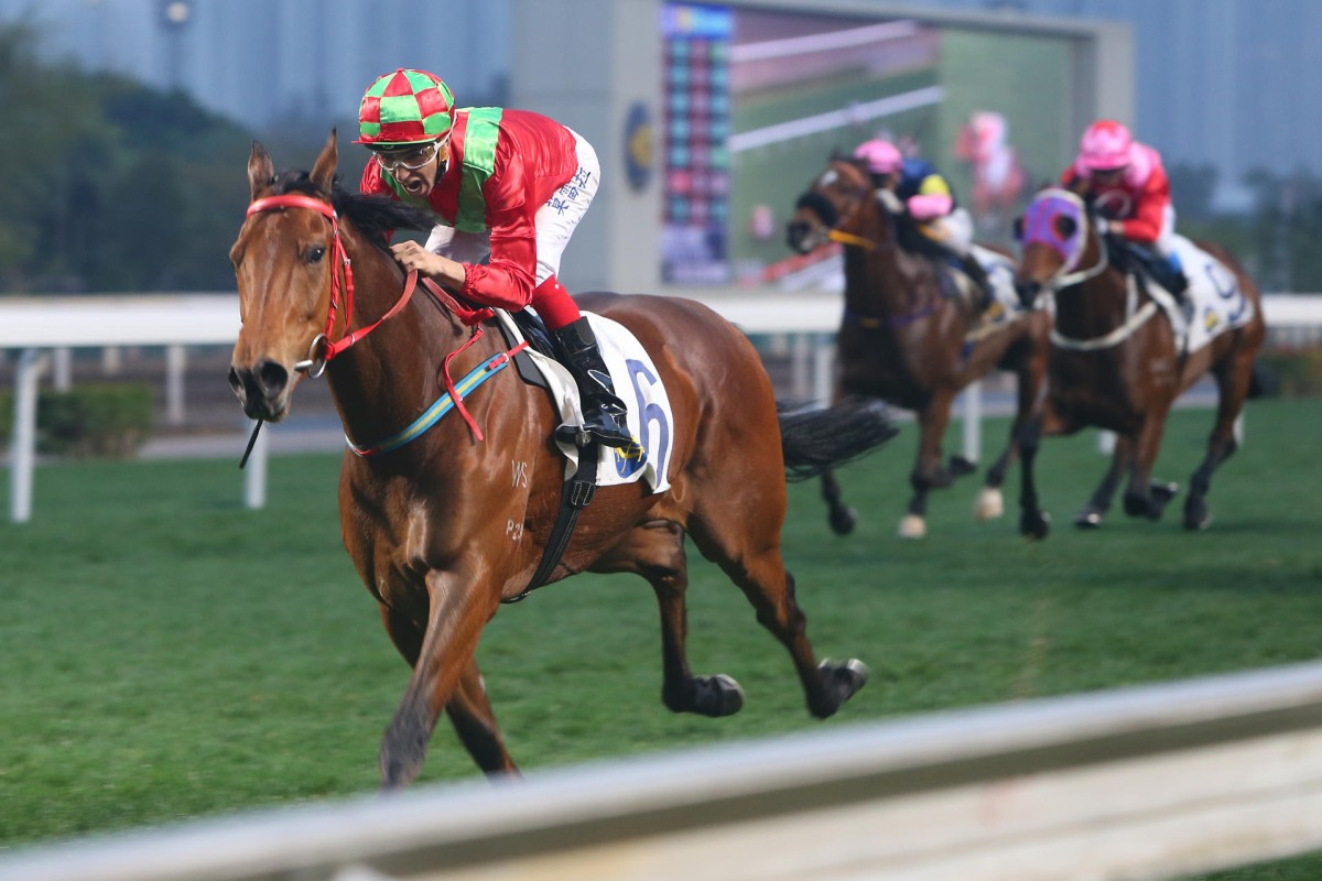 Joao Moreira scores an emphatic five-length victory in the last event aboard Flame Hero to complete his four-timer at Sha Tin on Saturday. Photo: Kenneth Chan