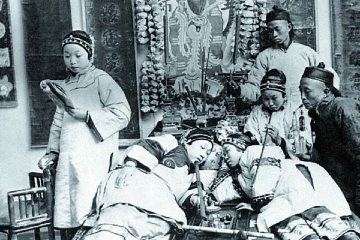 An opium den in China.