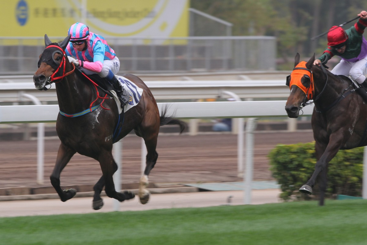 Khaya streaks away to win at Sha Tin on Sunday. Better races now await the John Size-trained gelding. Photo: Kenneth Chan