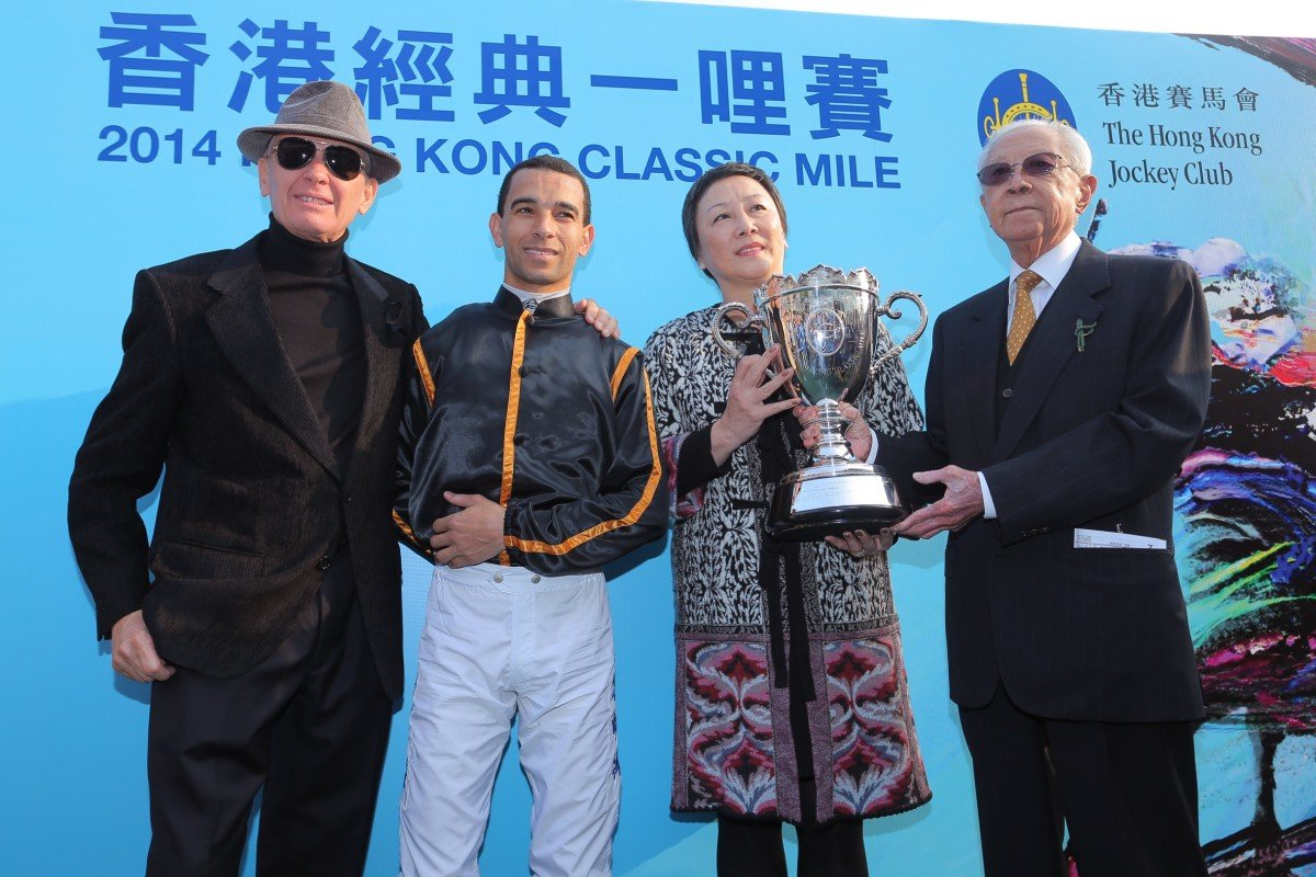 Team Able Friend: trainer John Moore, jockey Joao Moreira, and owner Cornel Li with his wife.