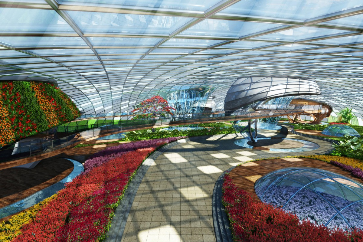 In addition to the controlled environment for the garden, there will be an underground level for rare flowers, a wine cellar and a scent library. Illustration: Benoy