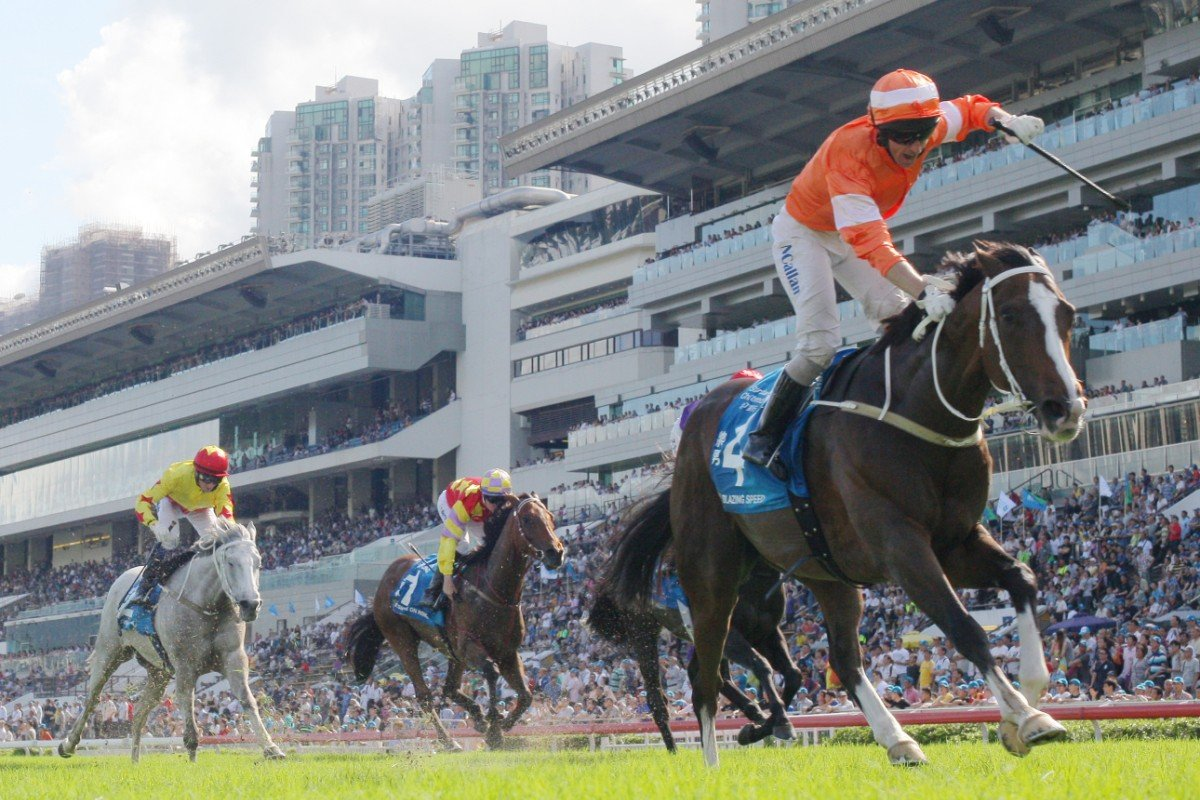 Blazing Speed won the Champions & Chater Cup, with Designs On Rome finishing solidly into fifth out wide. Photo: Kenneth Chan