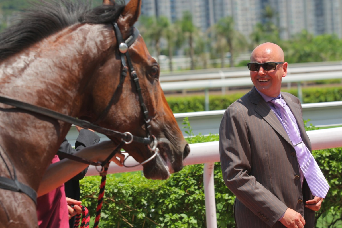 Andreas Schutz was all smiles after Sugar made it 12 wins for the season. Packing Llaregyb would make it 13 later on the card, just two from the benchmark of 15 wins. Photo: Kenneth Chan