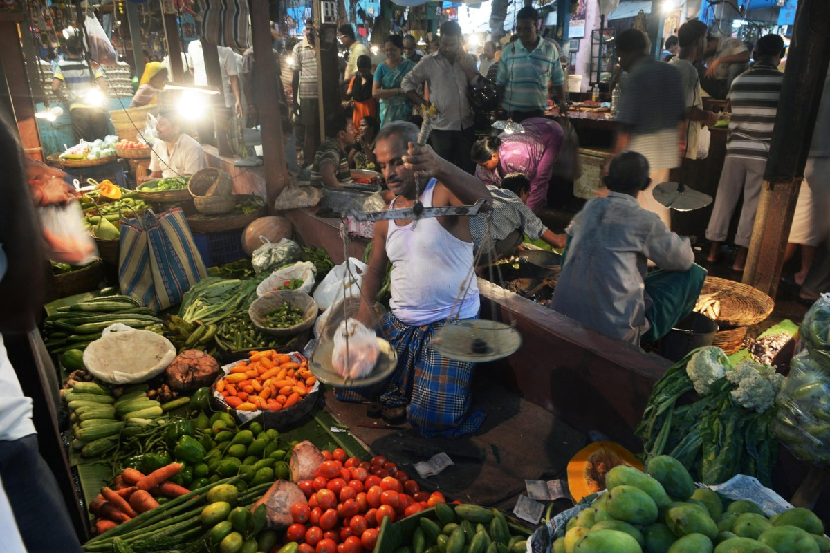 A vegetable market in Calcutta.