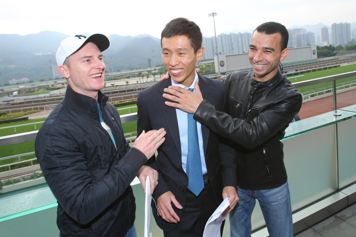 Zac Purton, Vincent Ho and Joao Moreira joke around before the draw for the Longines International Jockeys' Championship on Wednesday. Photos: Kenneth Chan