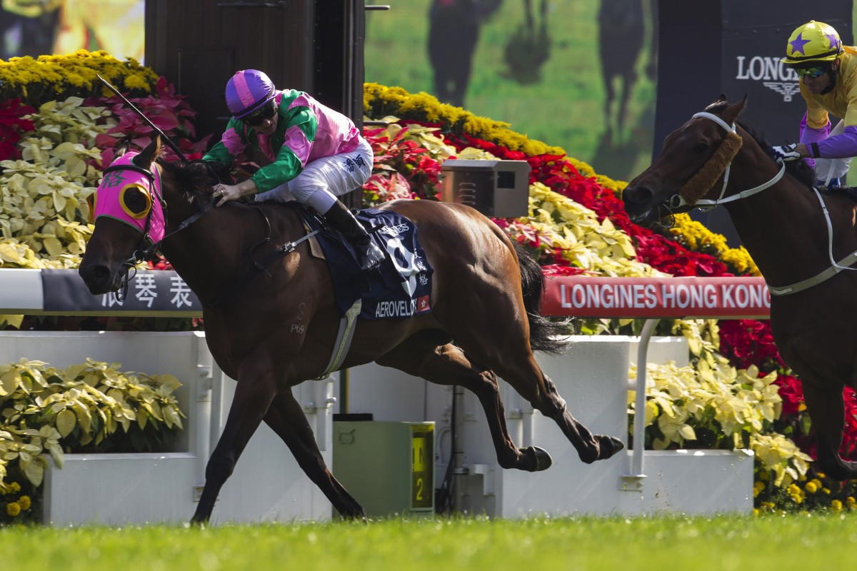 Aerovelocity (Zac Purton) leads all the way to beat favourite Pheniaphobia in the HK$18.5 million Hong Kong Sprint at Sha Tin racecourse. Photos: Reuters