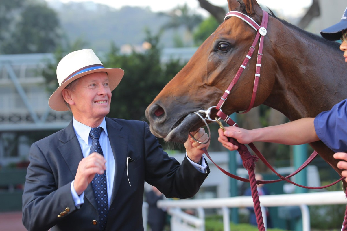 It has been a whirlwind year for John Moore, who has kept notching feature wins, including the Hong Kong Cup with Designs On Rome (pictured). Photos: Kenneth Chan