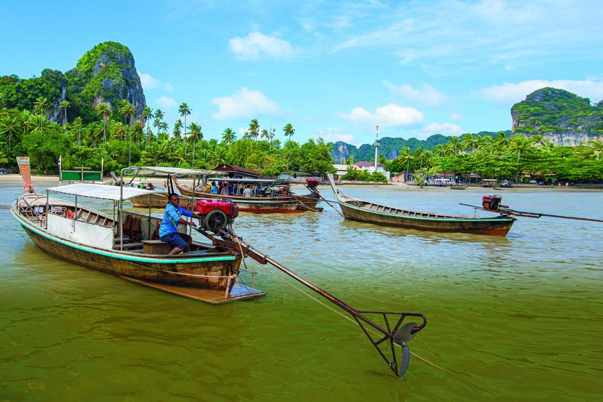 Long-tail boats at East Railay beach, near Krabi.