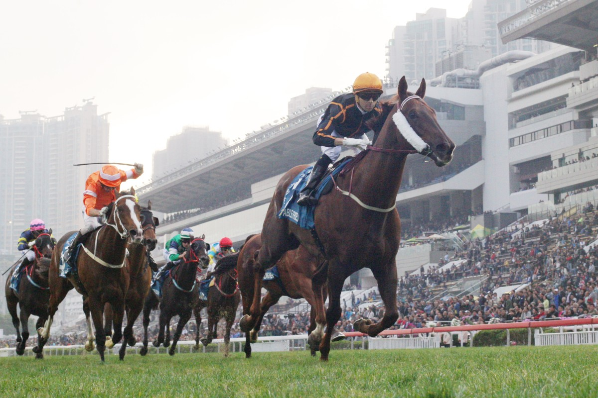 Able Friend wins the Stewards' Cup in a canter. A Dubai Turf tilt is now off the agenda. Photos: Kenneth Chan