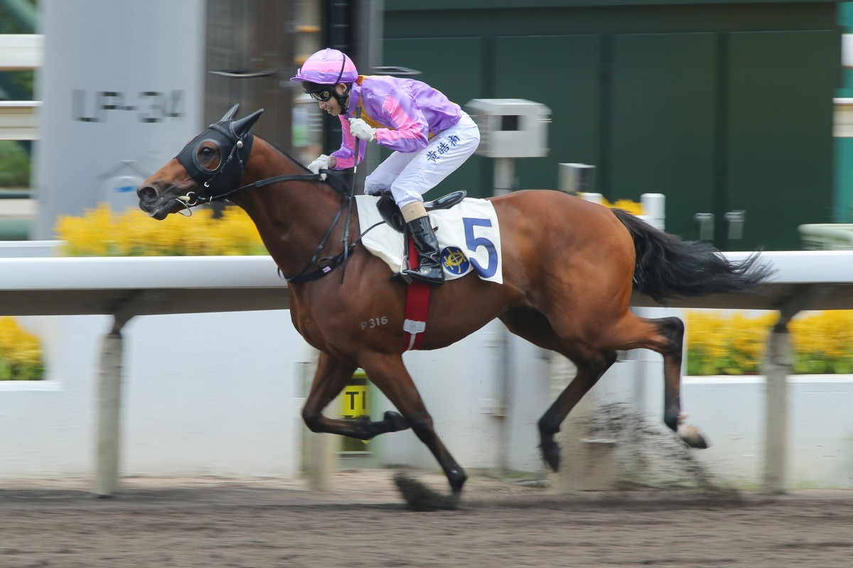 Apprentice Jack Wong gets Mister Marc home to score his first success for master Me Tsui. Photo: Kenneth Chan
