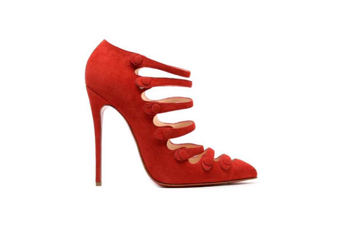 The red Louboutin shoe in question - the Viennana 100 red suede multi-strap pump, price HK$8,000. Similar shoes from other brands will cost you a lot less, The Dictator advises.