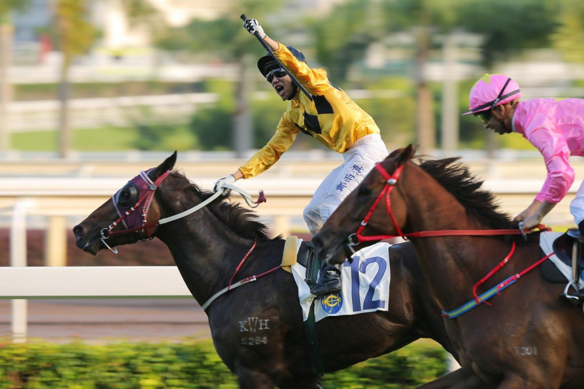 Howard Cheng celebrates as he takes the Panasonic Cup on John Moore-trained lightweight Dashing Fellow, holding off fellow four-year-old Sun Jewellery. Photos: Kenneth Chan