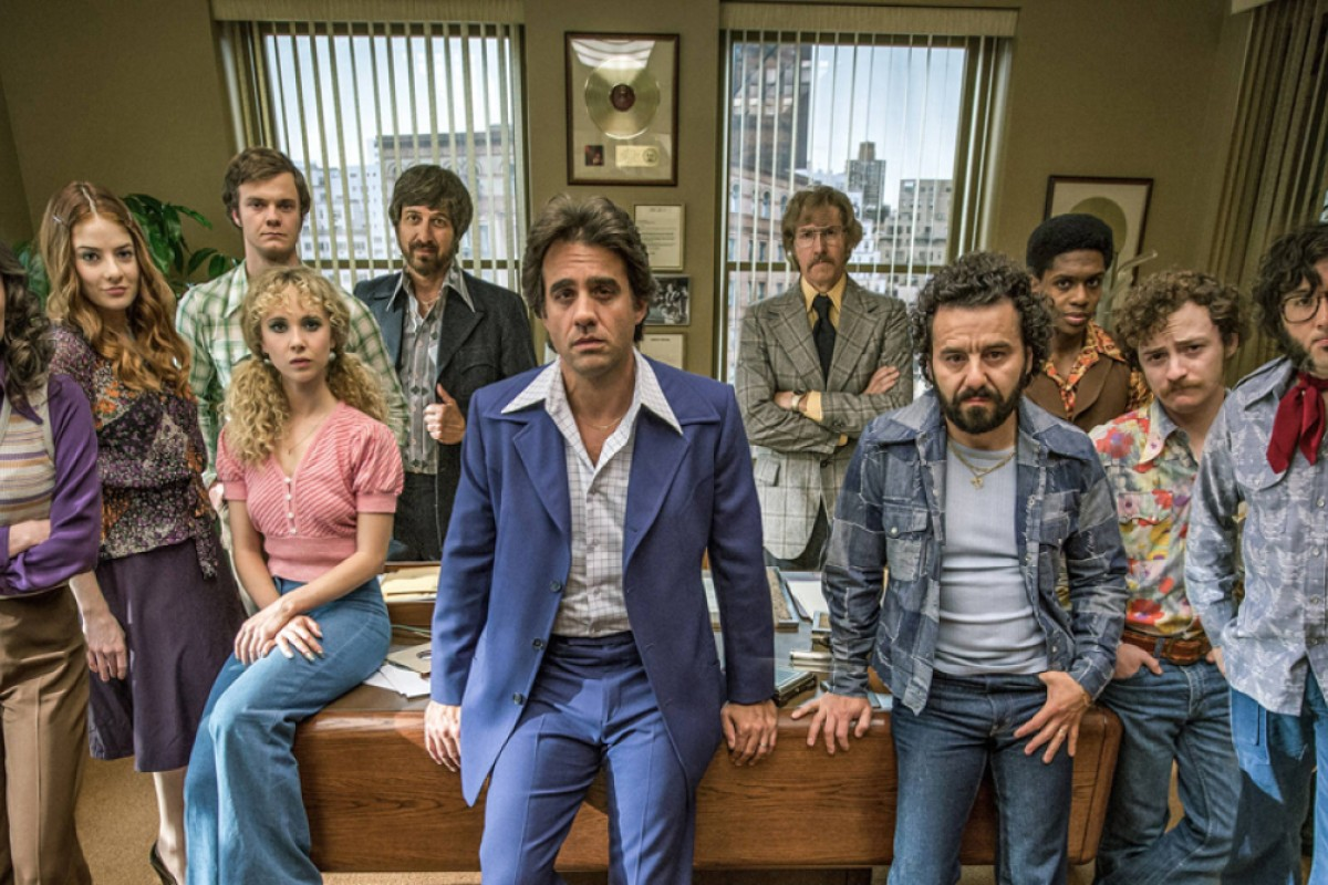 The cast of Vinyl, including Ray Romano (fifth from left) and Bobby Cannavale (centre).
