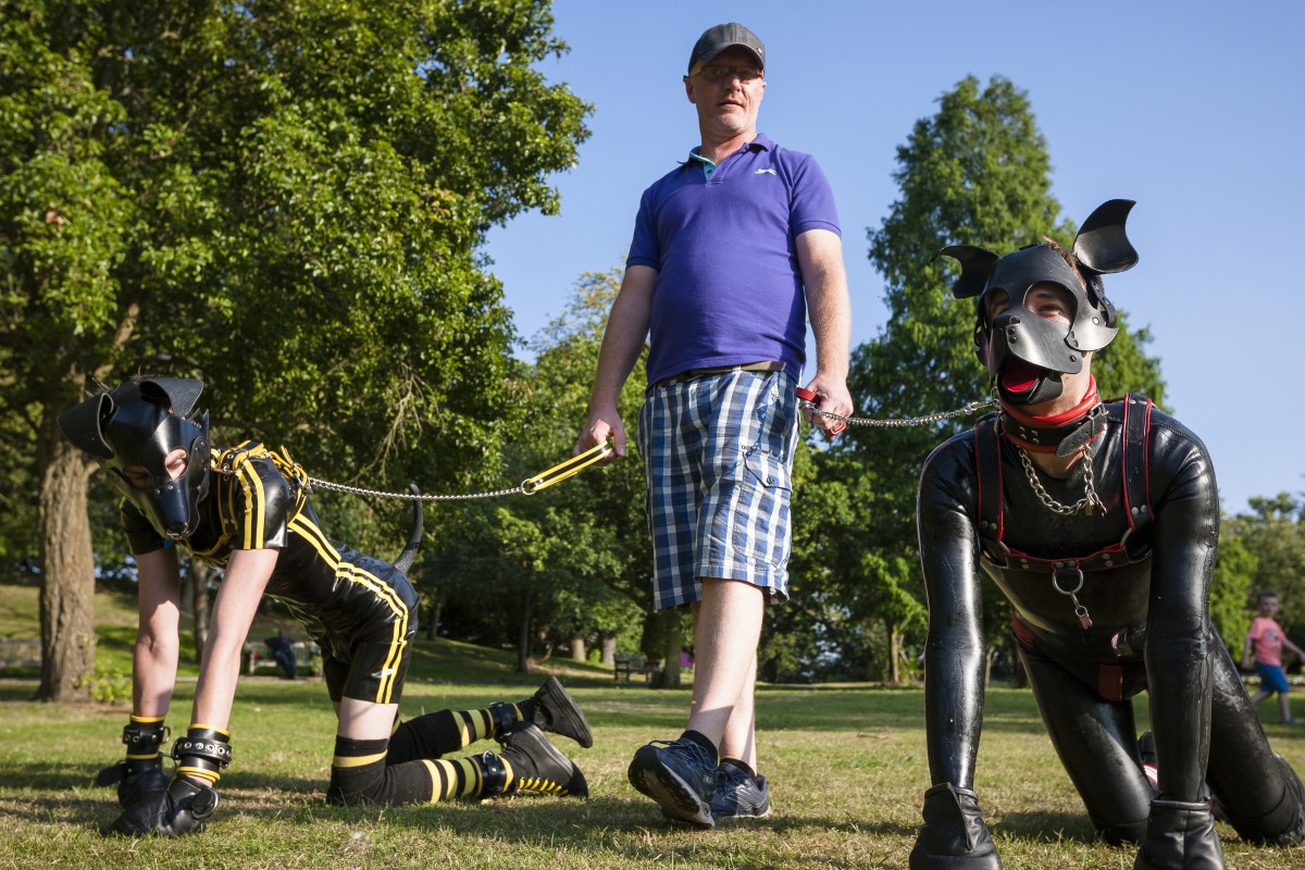 Andy, a handler, walks Scamp (right) and another pup in Croydon, south London. Pictures: Erik Messori