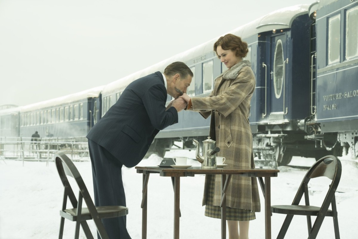 Kenneth Branagh as Hercule Poirot and Daisy Ridley in 'Murder on the Orient Express'.
