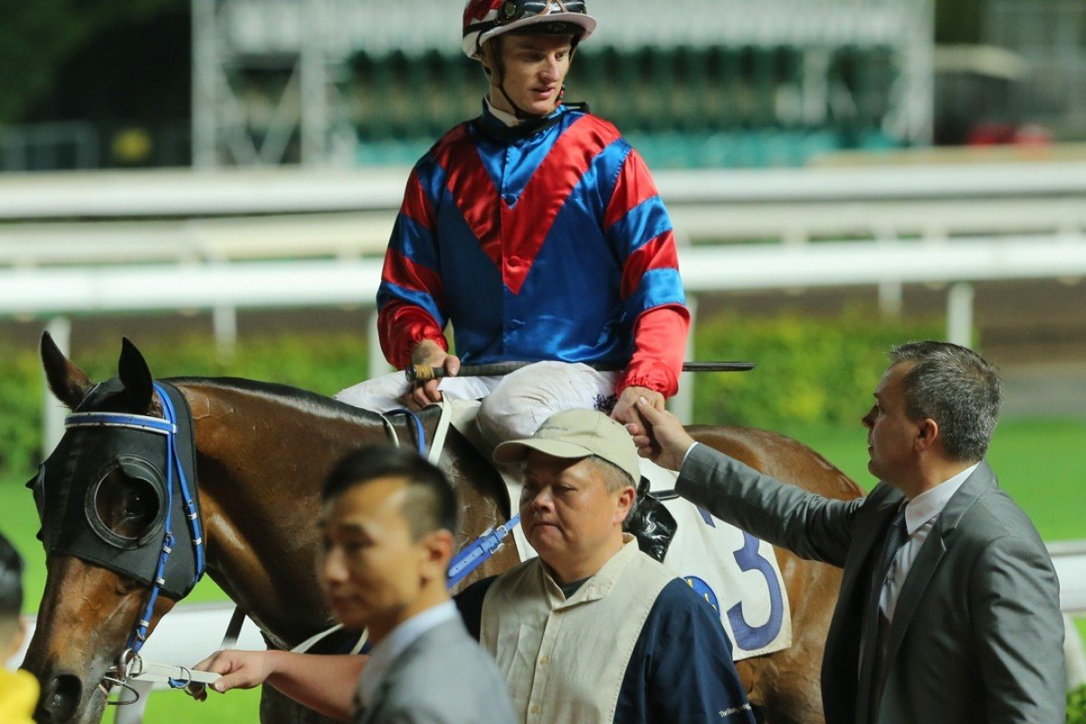 Zac Purton, Gun Pit and Caspar Fownes at Sha Tin last month