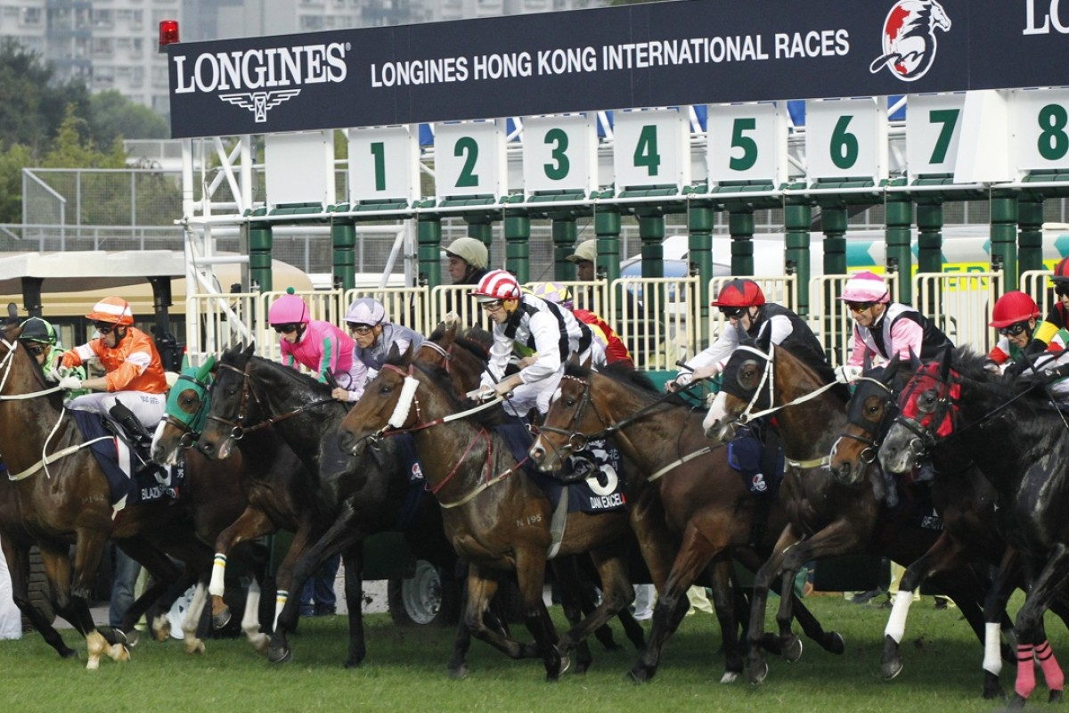 The field jumps in the Longines Hong Kong Cup. The SCMP's award-winning coverage of the Hong Kong International Races has received global recognition from the title sponsor. Photo: Kenneth Chan