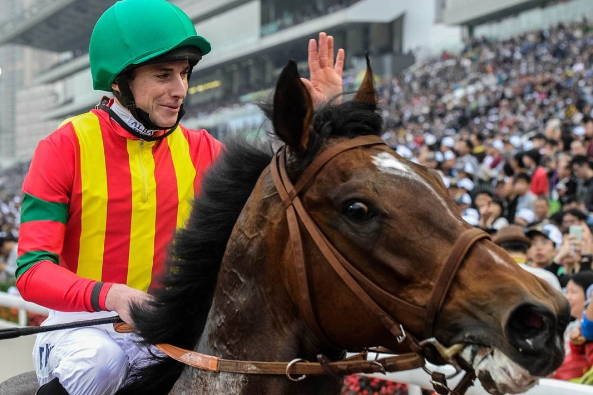 Ryan Moore takes the plaudits on Japanese superstar Maurice after winning the Longines Hong Kong Mile at Sha Tin last month. Photo: AFP