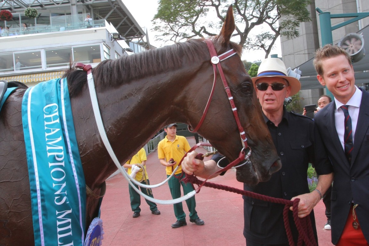 John Moore and Able Friend after winning the Champions Mile last May. Photo: Kenneth Chan